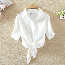 Plus Size Women Blouses Crop Tops Causal White Knotted Hem S