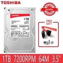"""TOSHIBA, высокопроизводительный 1 ТБ жесткий диск 1000 Гб HDD 3,5 """"настольный компьютер, внутренний HD SATA 3 7200 об/мин 64 м кэш 6,0 бит/с"""