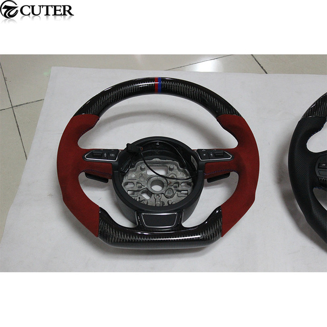 A4 B9 Rs4 Style Carbon Fiber Car Steering Wheel Steering Rudder For