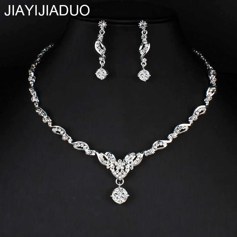 jiayijiaduo Fashion Crystal Bridal Jewelry Set Silver Color Rhinestone Party Necklace Set Ms. Wedding Jewelry dropshipping