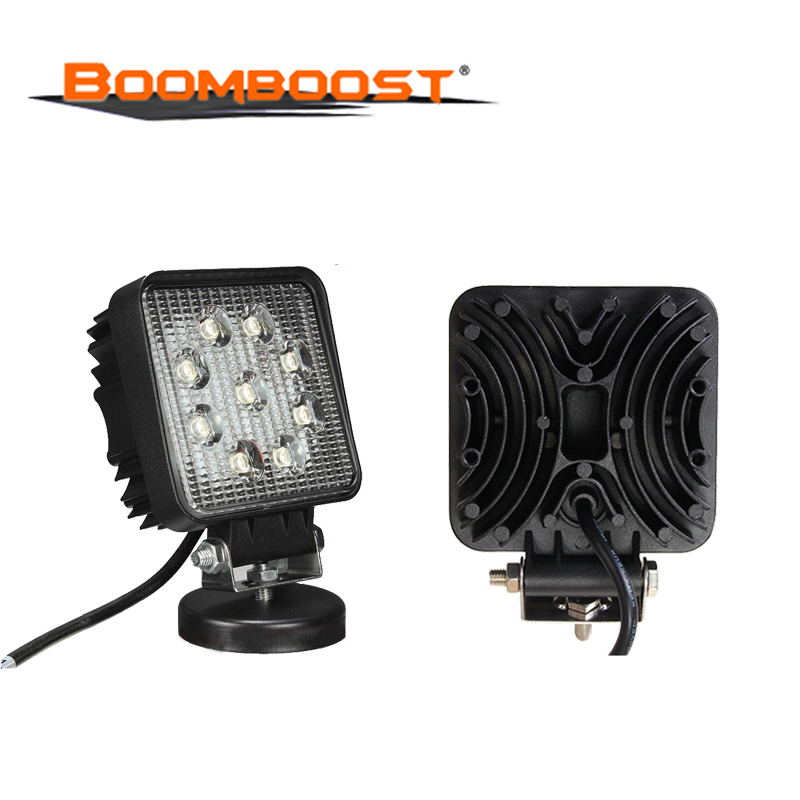 Square 2PCS 12v 24v 27W LED Driving Work Light Spot Beam For 4x4 Offroad Tractor Vehicle Truck Car Accessory Metal Waterproof