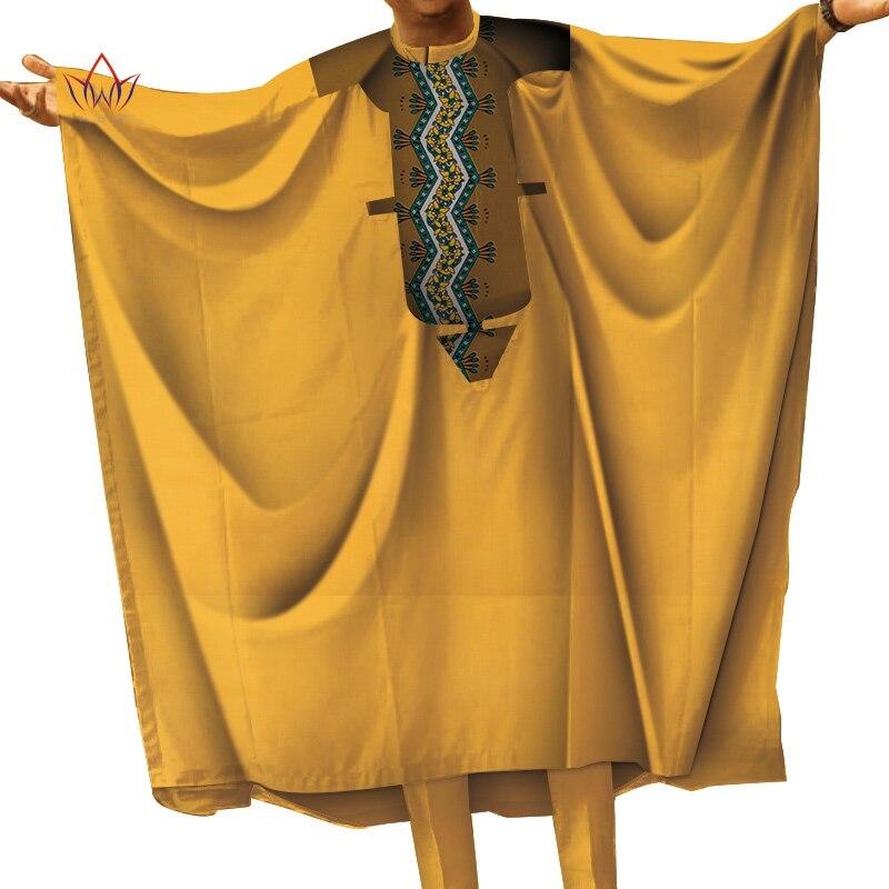 Décontracté hommes vêtements africains Top Robes et pantalons ensembles Bazin Riche conception africaine vêtements Dashiki hommes 2 pièces pantalons ensembles WYN712