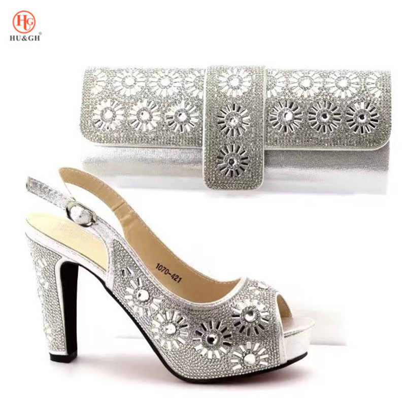 Фото 2018 Silver Color High Quality Shoes With Matching Bags Rhinestones African Shoes And Bags Set For Wedding Dress Free Shipping