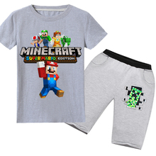 Summer children  cartoon Minecraft T-shirt boy girl cotton 3D printing short-sleeved T-shirt + pants children suit clothes 6-14Y 2018 minecraft pants long sleeve suit boy clothing jacket spring and autumn hooded sweater suit children s t shirt 6 14y