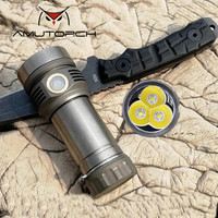 Amutorch X9 3* SST40 LED 4500 lumens Stepless Dimming powerful torch USB magnetic rechargeable titanium LED Flashlight 26650