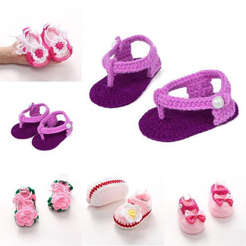 Fashion Cute Girls Infant Toddler Knitted Crochet Cotton Sock Lovely Baby Shoes