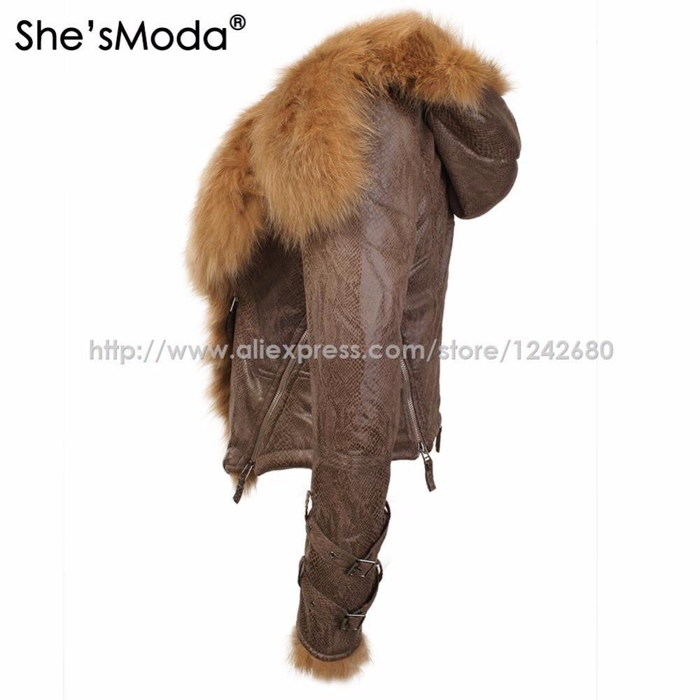 Femmes Lumière She'smoda brown À Veste Manteau Mince La Taille De Fourrure Réel Poids Renard Hiver Black Polaire Plus Capuche Zipper Moto gzwqg