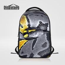 a51d95865ff7 Dispalang Для мужчин рюкзак для ноутбука 14 дюймов Тетрадь Прохладный  животных со змеиным принтом Школьные ранцы