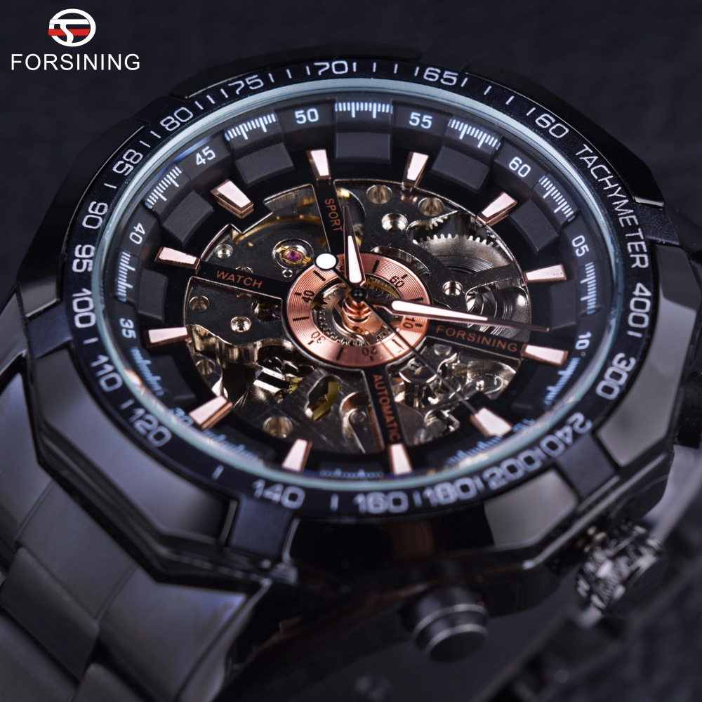 Forsining Sport Racing Series Skeleton Stainless Steel Black Golden Dial Top Brand Luxury Watches Men Automatic