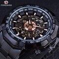Forsining esporte série de corrida de esqueleto de aço inoxidável preto dial de ouro top marca de luxo relógios homens relógio relógio automático dos homens