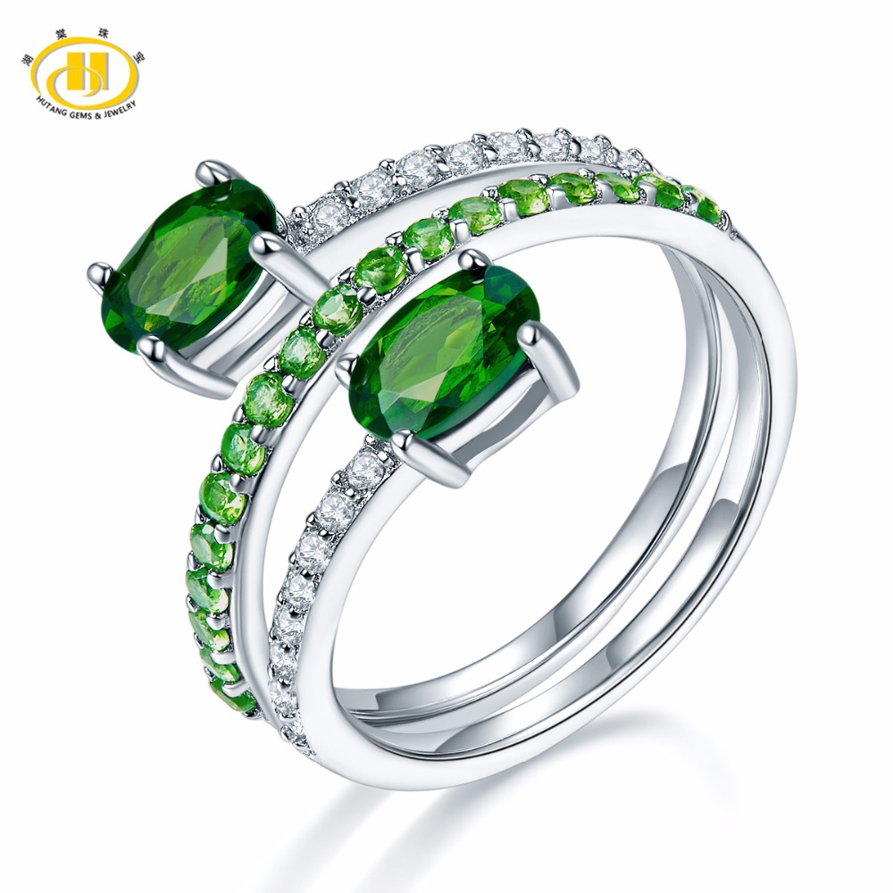 Hutang Natural Gemstone Chrome Diopside Similar Diamond Solid 925 Sterling Silver Spring Ring Fine Jewelry presents Gift NEW