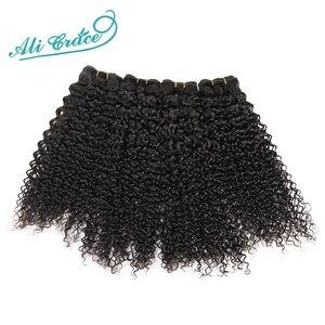Image 2 - ALI GNADE Brasilianische Verworrene Lockige Haar Mit Verschluss 3 Bundles Mit 4*4 Spitze Schließung Kostenloser Mittleren Teil 100% remy Haar Mit Verschluss