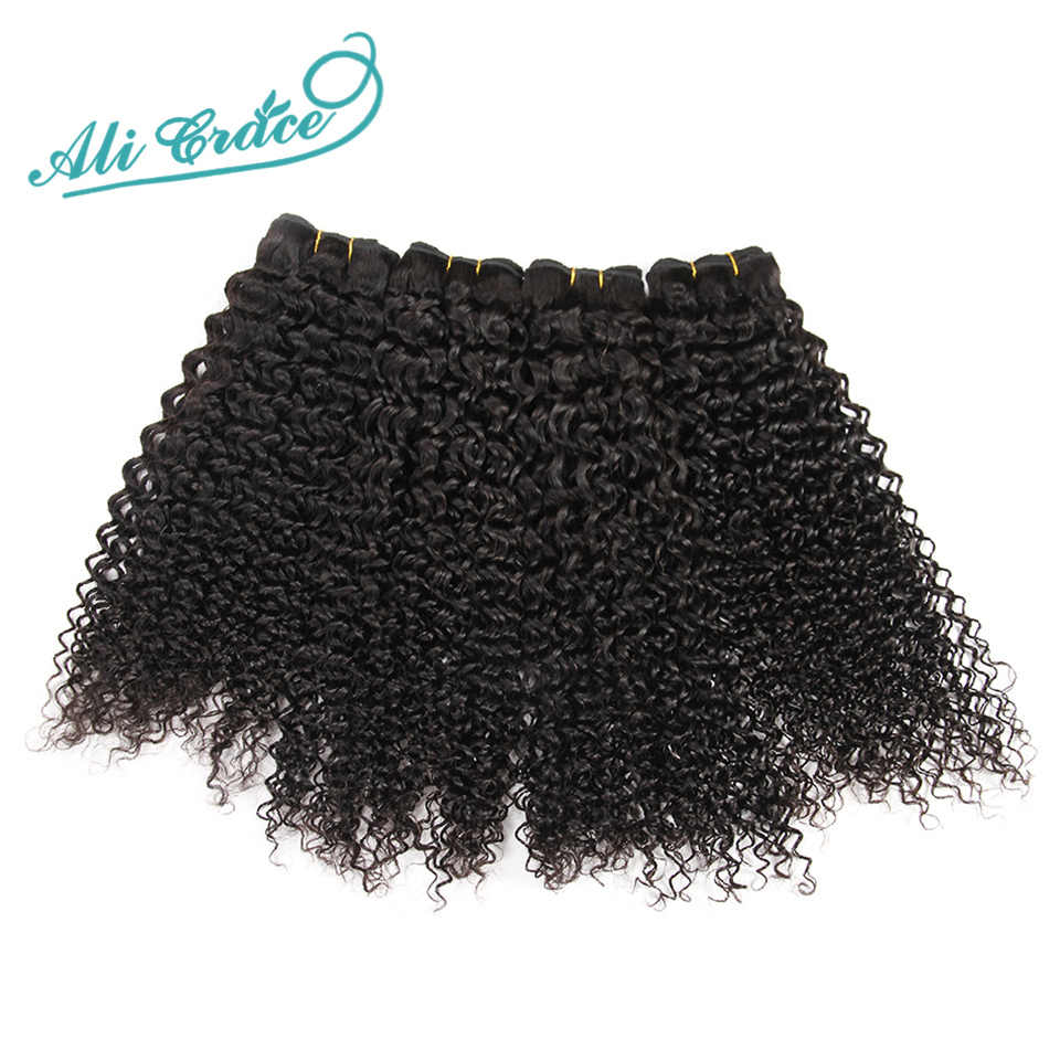 ALI GRACE Brazilian Kinky Curly Hair With Closure 3 Bundles With 4*4 Lace Closure Free Middle Part 100% Remy Hair With Closure