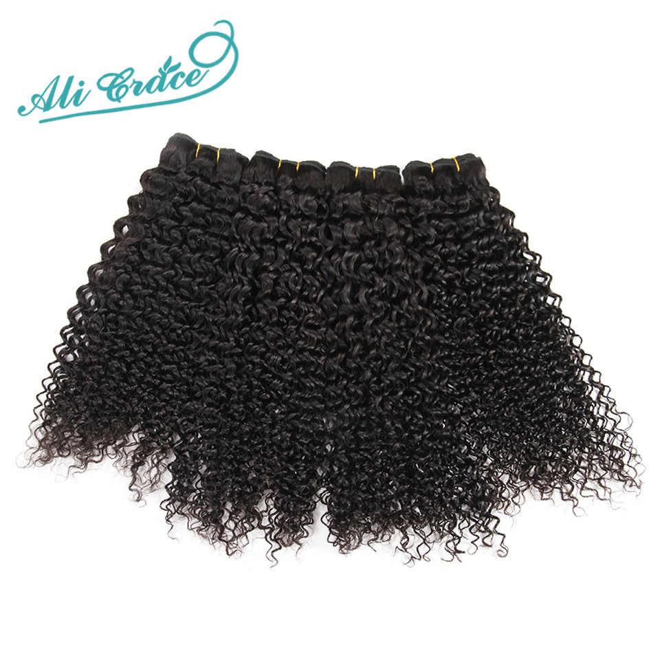 ALI GRACE brazylijski perwersyjne kręcone włosy z zamknięciem 3 zestawy z 4*4 koronka zamknięcie bezpłatne bliski część 100% remy włosy z zamknięciem