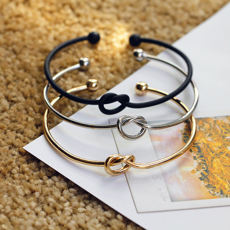 Hot Classic Simple Chic Silver\Gold\Black Knot Bangles Charm Bangle Adjustable Statement Jewelry for women Gifts Fee shipping