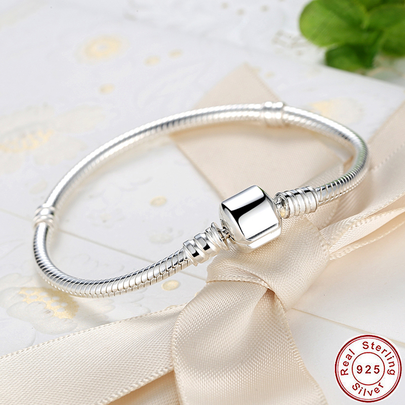 цена на Authentic 100% 925 Sterling Silver Femme Snake Chain Bracelet Cuff Bracelet European Fashion Authentic Jewelry Pulseira Gift