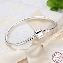 Authentic 100% 925 Sterling Silver Femme Snake Chain Bracelet Cuff Bracelet European Fashion Authentic Jewelry Pulseira Gift