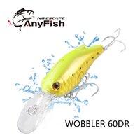 Anyfish wobbler 60dr 떠 다니는 낚시 3d 눈을 하드 aritificial 미끼 크랭크 베이트 6 cm 11.4g 다이빙 깊이 3m 물고기 wobbler 태클