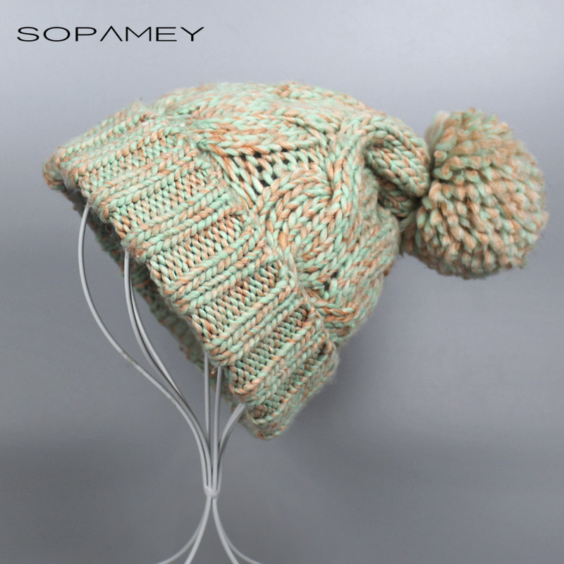 SOPAMEY Fashion Women Autumn Winter Warm Hat Knitting Wool Cap Soft Crochet Knitted Wool Fur Beanie Pompom Ball Adjustable Hat gift children knitting wool hat cute keep warm rabbit beanie cap autumn and winter hat with earflaps whcn