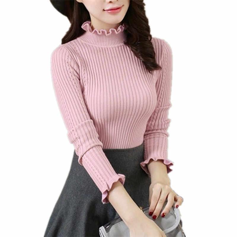 Осенне-зимний женский свитер, пуловер с оборками, полуводолазка, длинный рукав, тонкий короткий, высокая эластичность, вязаный свитер, топы для девочек, AA888