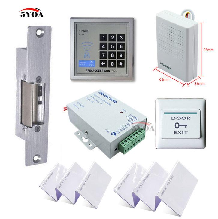 5YOA RFID Access Control System Kit Set Strike Door Lock ID Card Keytab Power Exit Button