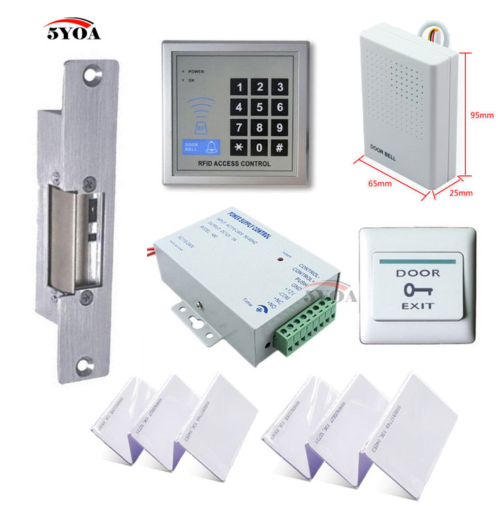 Top Rated Home Security Systems >> 5YOA RFID Access Control System Kit Set + Strike Door Lock + ID Card Keytab + Power + Exit ...