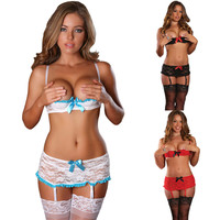 M XXL Plus Size Sexy Lingerie Hot Women Lace Shelf Bra Sets Open Bra Garter Skirt