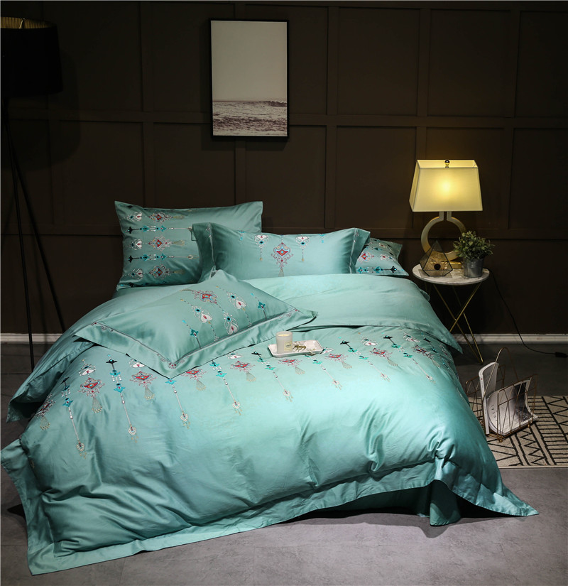 Clical Luxury Soft Egyptian Cotton Bedding Sets High Quality Bed Linen Sheets Embroidery Duvet Cover Set