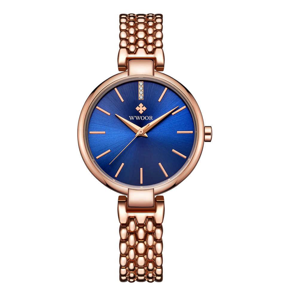 WWOOR розовое золото часы Для женщин кварцевые часы Дамы Топ Марка кристалл Роскошные женские наручные часы для девочек Часы Relogio Feminino синий