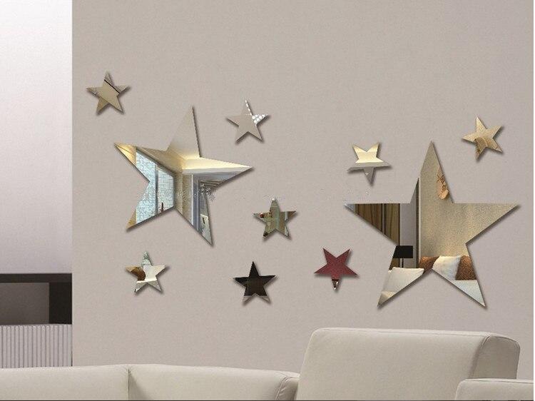 Set of 10pcs Creative five stars wall mirror <font><b>sticker</b></font> for kids child `s bedroom home deco , 3D DIY Crystal Wall <font><b>Sticker</b></font>