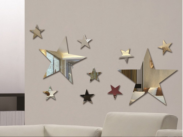 Set Of 10pcs Creative Five Stars Wall Mirror Sticker For Kids Child `s  Bedroom Home