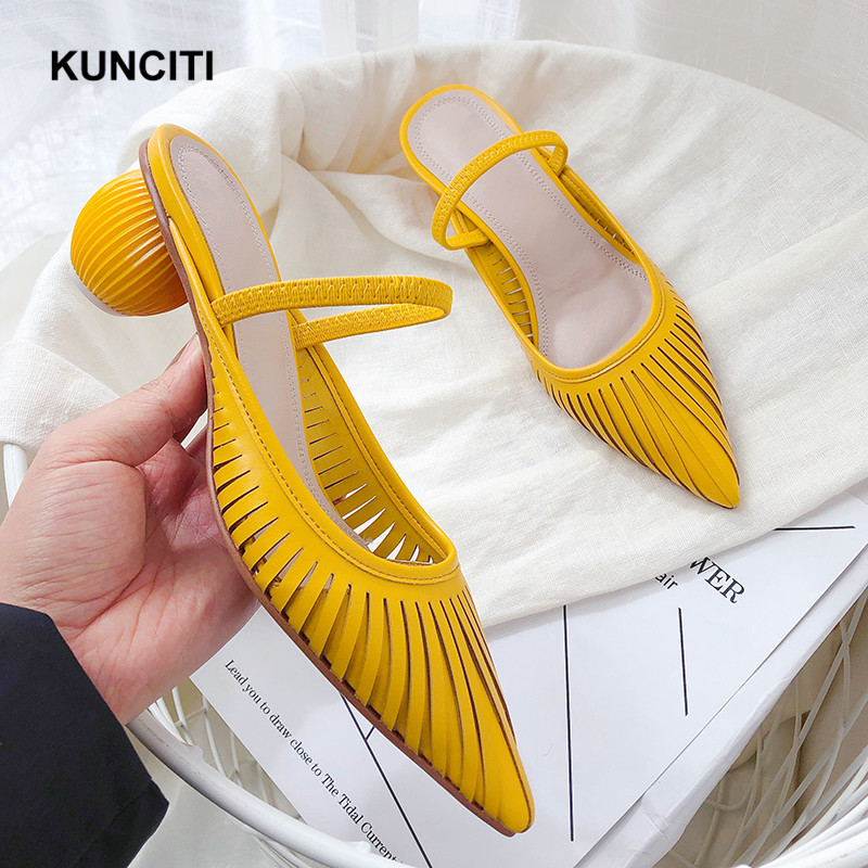 2019 Women Summer Slippers Strange Heel Korean Shoes New Designer Yellow Hollow Out Shoes Genuine Leather