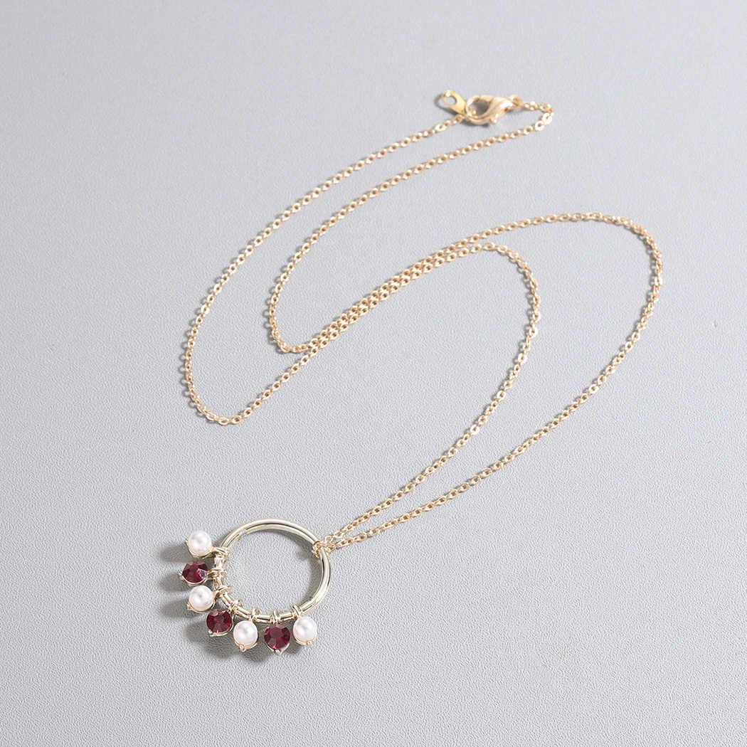 QIMING бусины шар Красный Кристалл этнический ожерелье для женщин Золотой Серебряный кулон с жемчугом индийские ювелирные изделия Круг Круглый винтажное ожерелье