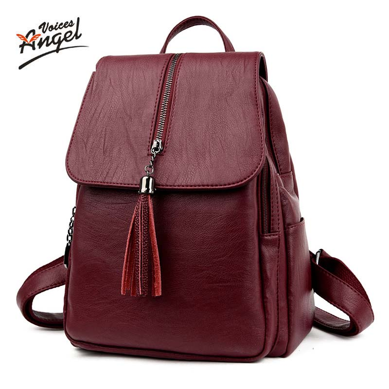Angel Voices brand fashion women backpack high quality genuine leather school bags female serpentine prints drawstring backpacks