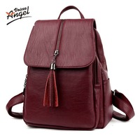 Angel Voices Brand Fashion Women Backpack High Quality Genuine Leather School Bags Female Serpentine Prints Drawstring