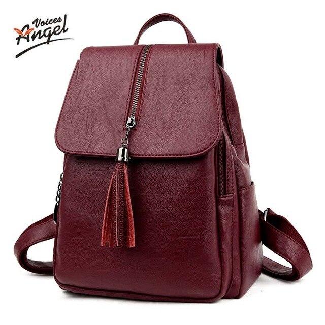 88781e82b Anjo Vozes de mulheres marca de moda mochila de alta qualidade sacos de  escola de couro