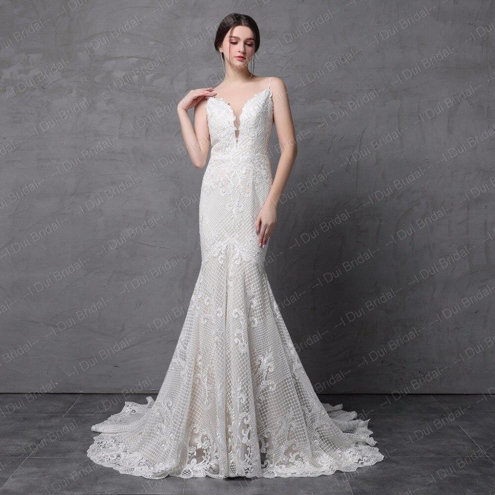 Spaghetti Strap Mermaid Wedding Dresses Luxury Lace High Quality Low ...