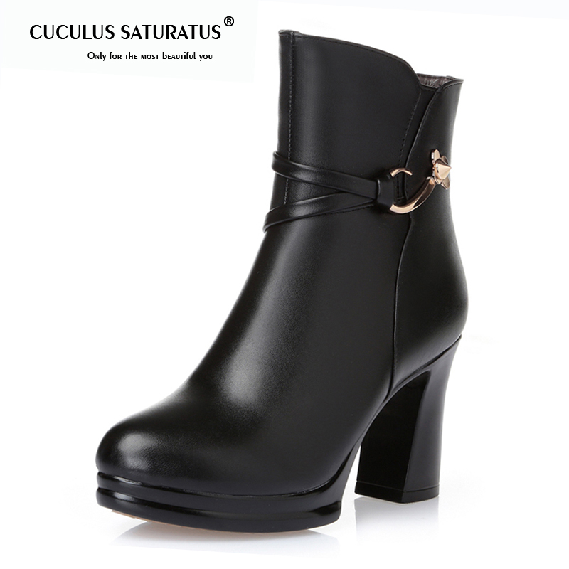 Cuculus Women Platform Ankle Boots Round Toe High Heels Winter Shoes Woman Genuine Leather Boots Ladies Autumn Boots 1974Cuculus Women Platform Ankle Boots Round Toe High Heels Winter Shoes Woman Genuine Leather Boots Ladies Autumn Boots 1974