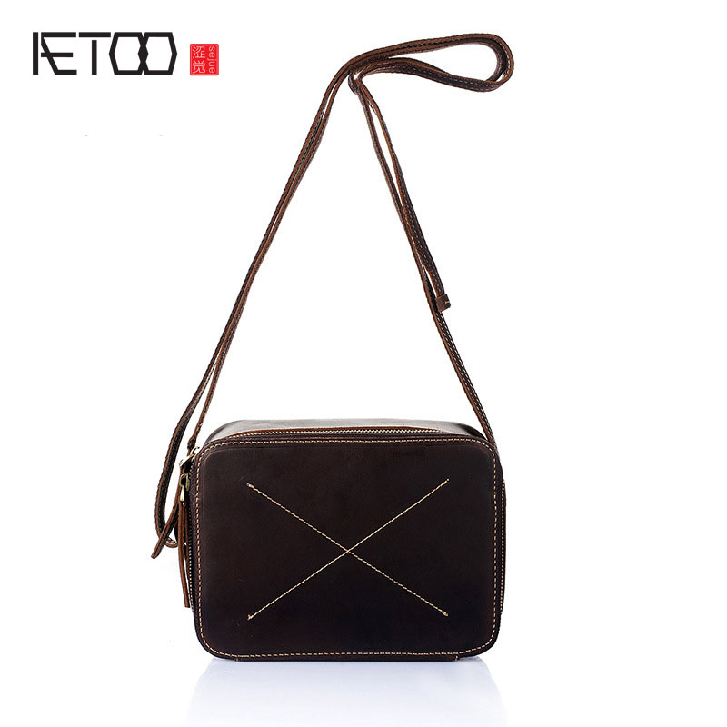 AETOO The new first layer of leather handbags leather Lingge shoulder bag retro cowardly Messenger bag female small square bag famous brand top leather handbag bag 2018 new big bag shoulder messenger bag the first layer of leather hand bag