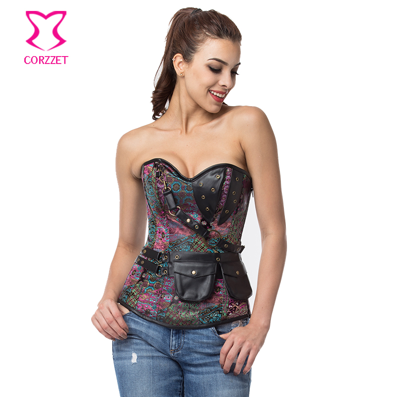 1327078b432 Purple Brocade Sexy Corselet Overbust Steel Boned Corsets And Bustiers  Gothic Clothing Vintage Steampunk Corset Plus. US  19.48. 6XL Sexy Corpetes  E ...
