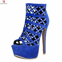 Original Intention New Elegant Women Sandals Stylish Peep Toe Thin High Heels Nice Glitter Blue Shoes