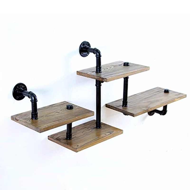 1PC Industrial Pipe Bathroom Shelf Metal Wall Mounted Living Room Book Decorative Wood