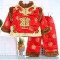 Niños de la Chaqueta Acolchada de Algodón tradicional Tang Trajes de Invierno Gruesa Ropa de Año Nuevo + Caps para 0-3 Años Los Niños Regalos de Cumpleaños del bebé