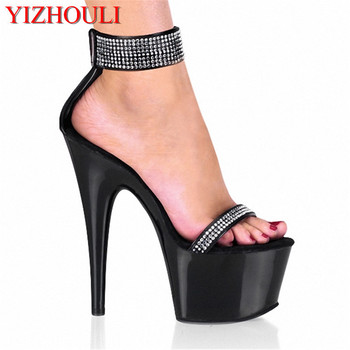 Sexy 15 cm high heel sandals in Europe and the new shiny shoes/shoes shows sexy appeal Sandals