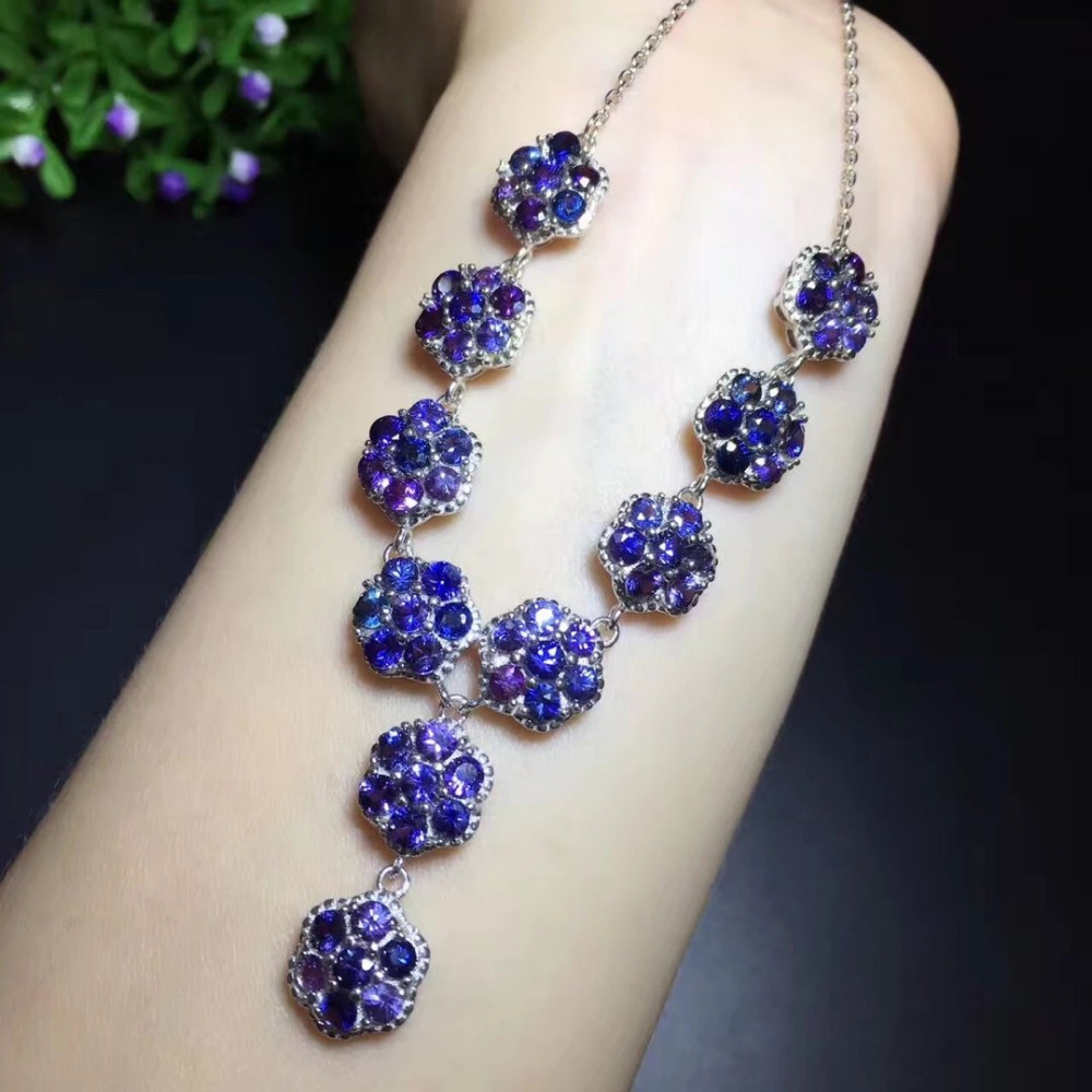 2017 New  Collier Qi Xuan_Blue Stone Flower Necklaces_Real Blue Stone Necklaces_Quality Guaranteed_Manufacturer Directly Sale 2017 New  Collier Qi Xuan_Blue Stone Flower Necklaces_Real Blue Stone Necklaces_Quality Guaranteed_Manufacturer Directly Sale