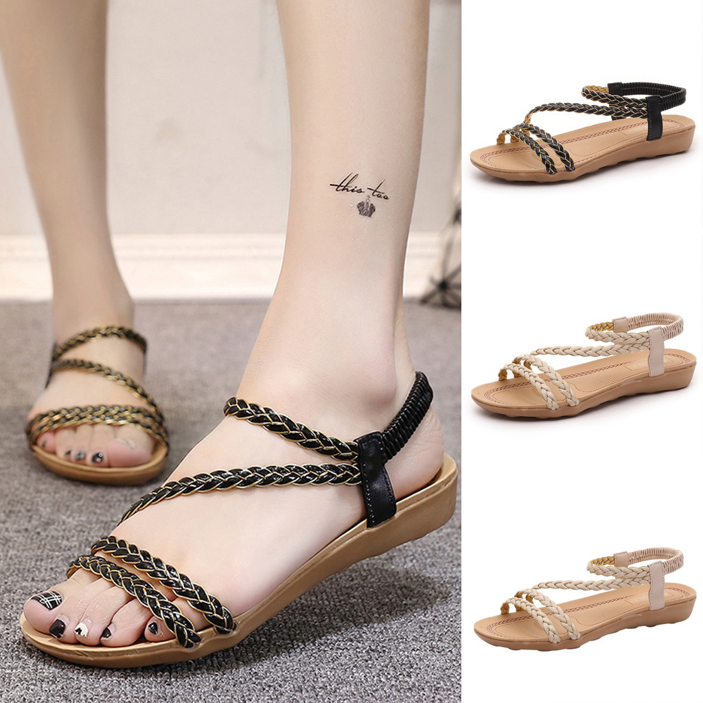 d0b721c98eea 2019 Women s Classic Rome Sandals Spring Summer Ladies Beach Shoes Peep Toe Shoes  Casual Flat Heel Sandal Fashion Outdoor