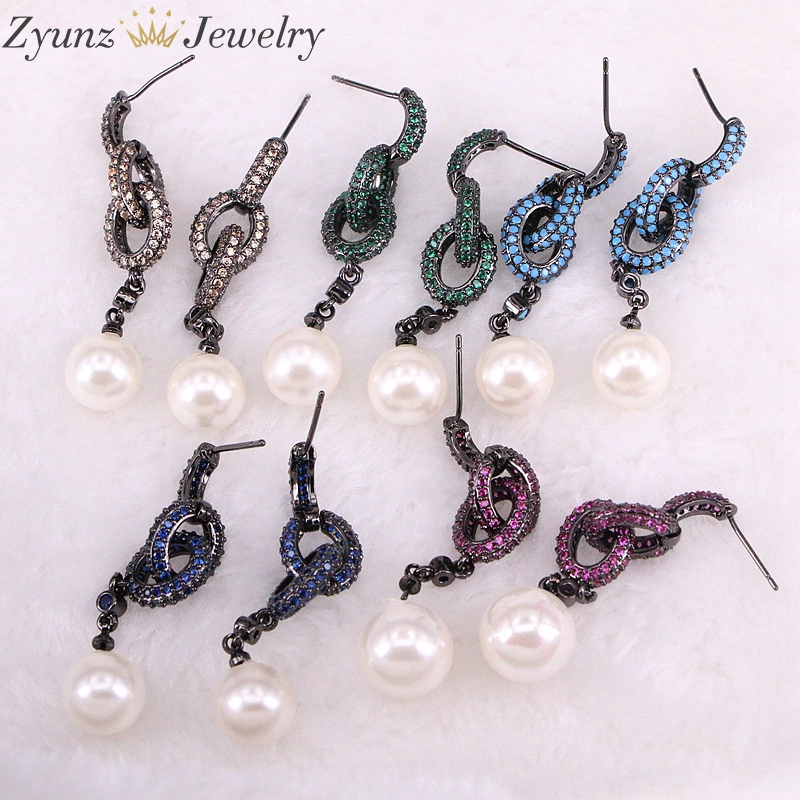 4 Pairs ZYZ332-5002 New Simple Design Fashion Pearl Shell Mix Color Earrings For Women With Link Chain CZ Crystal Jewelry