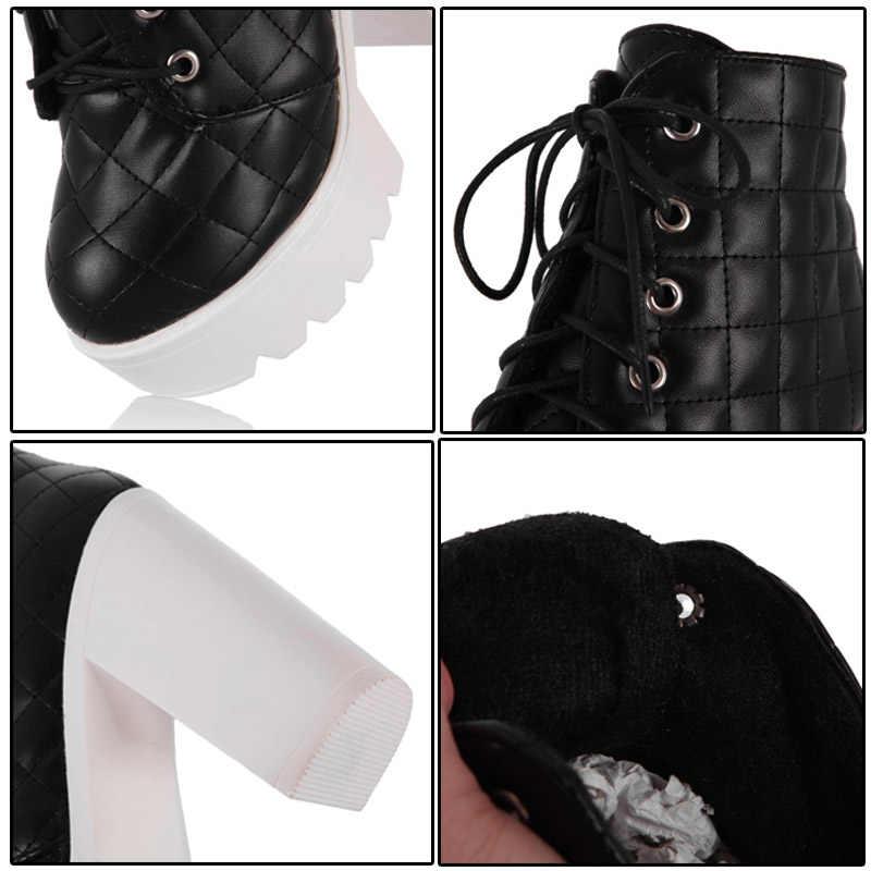 Phoentin super botas de salto alto tornozelo mulheres rendas até botas de plataforma dedo do pé redondo de couro pu preto gridding sapatos da mulher do inverno FT235