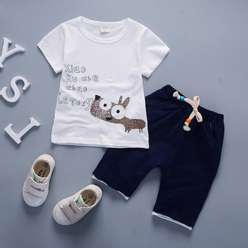 Newborn baby boy summer clothing set for kids short-sleeved cartoon T-shirt+short pants 2Pcs children clothing