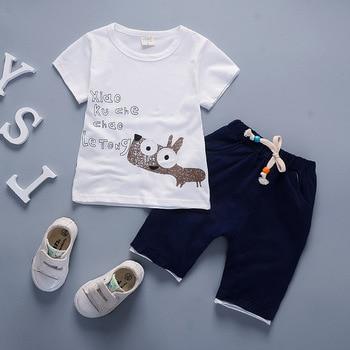Newborn baby boy summer clothing set for kids short-sleeved cartoon T-shirt+short pants 2Pcs children clothing
